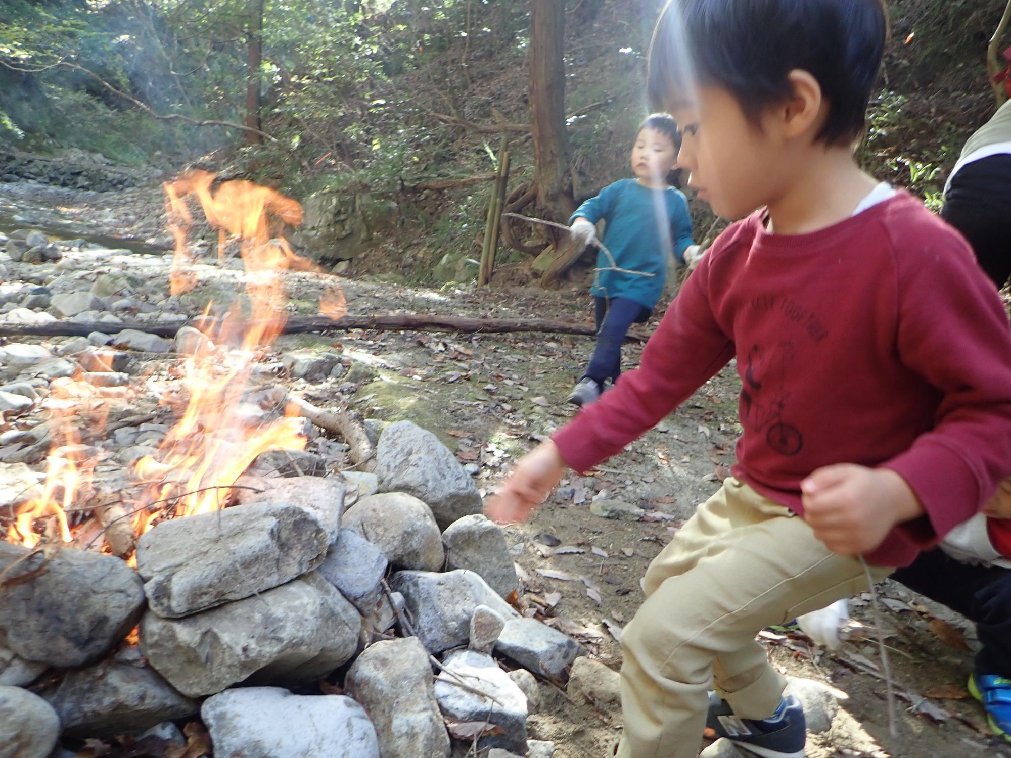 11月10日土曜キンダー 焚き火でホクホク焼き芋!